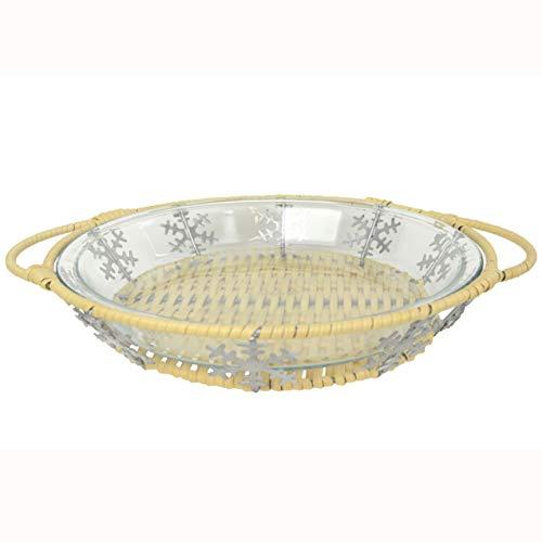 Pyrex 1 23-CM Glass Pie Plate 1 Snowflake Pie Plate Basket