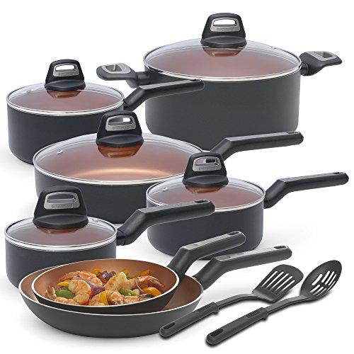 BLACKDECKER 83375 14 Piece Durable Titanium Nonstick Interior Cookware Set Multi-Size Copper