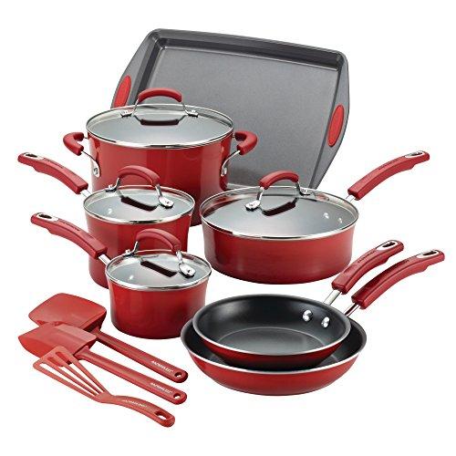 Rachael Ray Hard Porcelain Enamel Nonstick Cookware Set 14-Piece Red Gradient