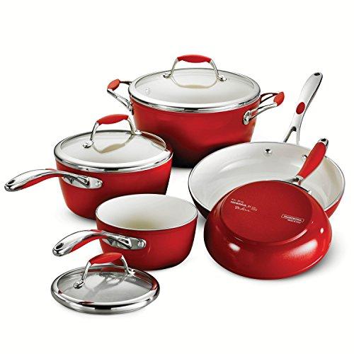 Tramontina 80110201DS 8-Piece Gourmet Ceramica 01 Deluxe Cookware Set Metallic Red