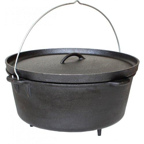 Cajun Cookware 16-quart Seasoned Cast Iron Camp Pot With Legs - Gl10465s