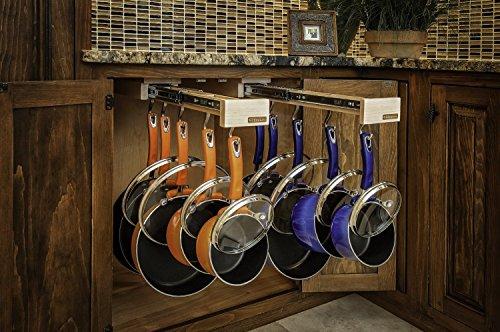 Dual-ing Glideware Cookware Organizer with 14 Hooks by Glideware LLC