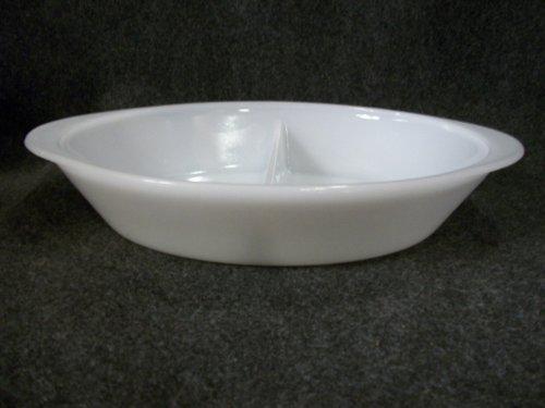 Vintage Glasbake White Milk Glass Divided Oval Casserole Baking Dish Oven Ware