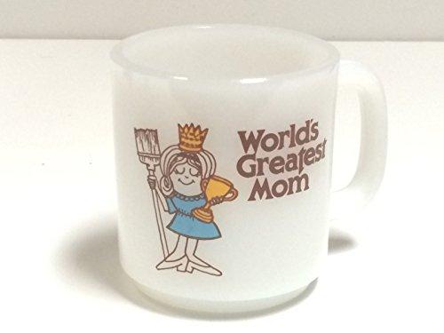 Worlds Greatest Mom Mug Milk Glass Glasbake Coffee Cup White 1978 vintage