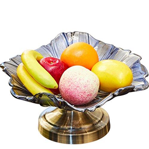 RUNWEI Fruit Bowl Crystal Glass Bowl Nut Fruit Box Living Room Dried Fruit Plate Metal Base Fruit bowl