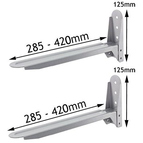 Spares2go Silver Adjustable Extendable Holder Brackets For Hitachi Microwave Ovens