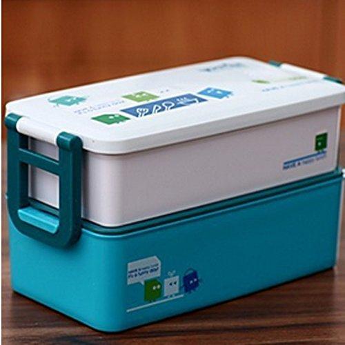 Cute cartoon rectangular lunch box Microwave boxes bento 800ML Blue