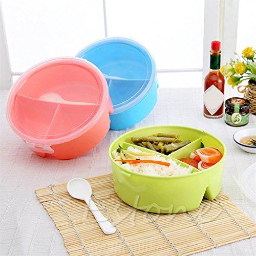 Randomly Color Portable Picnic Box Round Microwave Box Bento Food Container Storage Withspoon Randomly Color H06