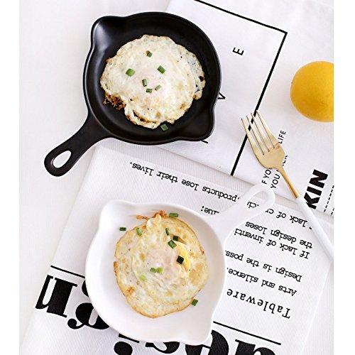 Katoot Round Ceramic Baking Pan Tray Handled Au Gratin Dishes Kitchen Baking Tools Fruits Salad Pasta Plates Bakeware Tableware White