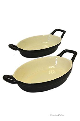 Set 2 Black Vintage-Onyx Stoneware Appetizer Au Gratin Dishes with Handles