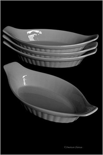 Set 4 Oval 9 Oven-Safe White Porcelain Appetizer Au Gratin Dishes with Handles
