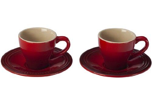 Le Creuset PG8001-0967 Stoneware Espresso Cups and Saucers Set of 2 Cerise
