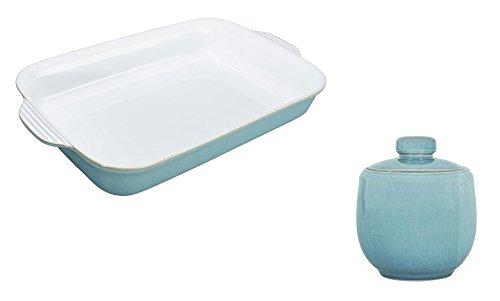 Denby Azure Large Oblong Dish and Covered Sugar Set of 2
