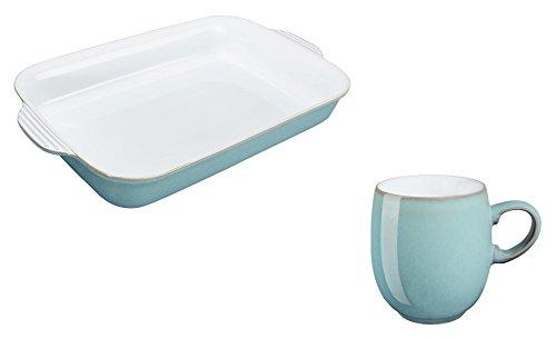 Denby Azure Large Oblong Dish and Curve Mug Set of 2