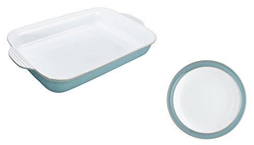 Denby Azure Large Oblong Dish and Tea Plate Set of 2