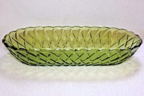 Vintage Indiana Glass Avocado Green Basket Weave Pattern Celery Oblong Dish