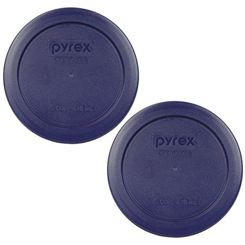 Pyrex 7200-PC 2 Cup Dark Blue Round Storage Lids - 2 Pack