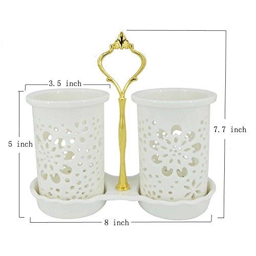 Set of 2 Ceramic Crocks Kitchen Utensil Holder - White Type A
