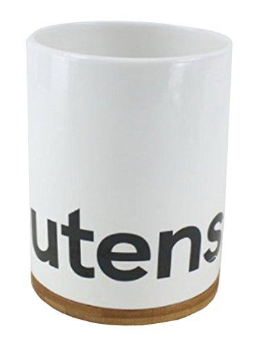 TUTTIE Ceramic Utensil Holder Crock Modern Farmhouse Style Bamboo Base White