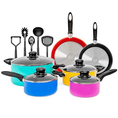 Best Choice Products 15 Piece Nonstick Cookware Kitchen Pots Pans Set w BPA Free Utensils Multicolor