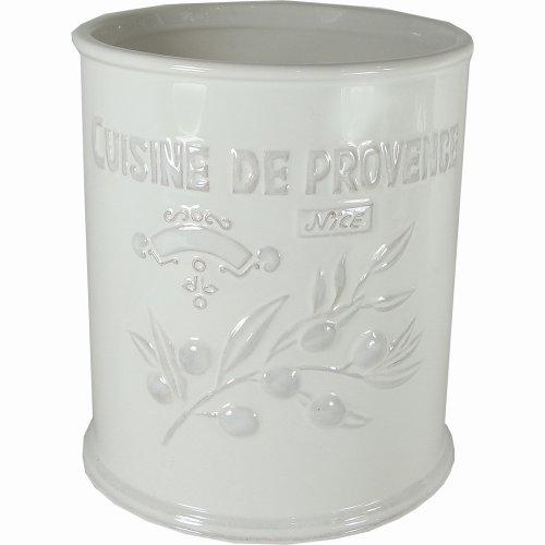 Cuisine Provence White Ceramic Canister or Utensil Pot