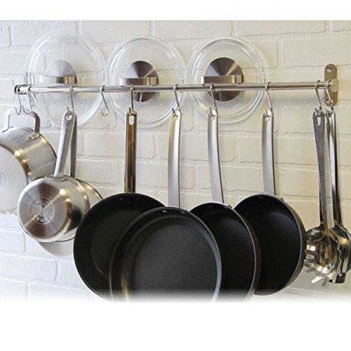 Premium Chefmate Stainless Steel Gourmet Kitchen 315 Inch Wall Mount Rail and 10 S Hooks Set Utensil Pot Pan Lid Rack Storage Organizer  Silver
