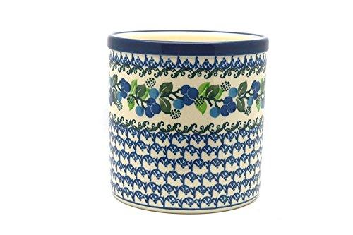 Polish Pottery Utensil Holder - Blue Berries