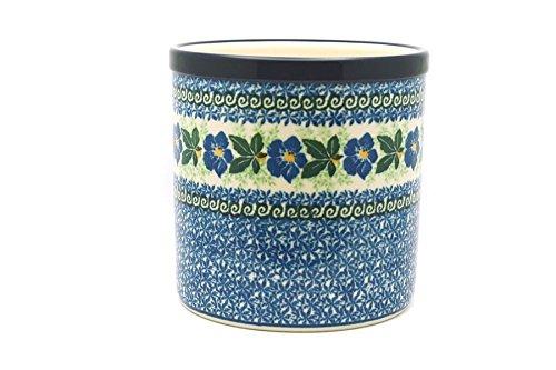 Polish Pottery Utensil Holder - Blue Pansy