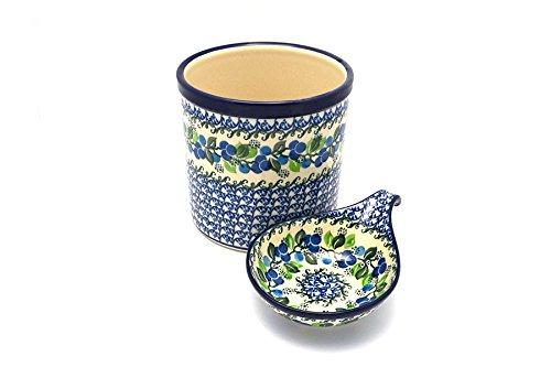 Polish Pottery Utensil Holder Set - Blue Berries