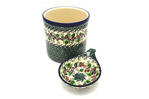 Polish Pottery Utensil Holder Set - Burgundy Berry Green