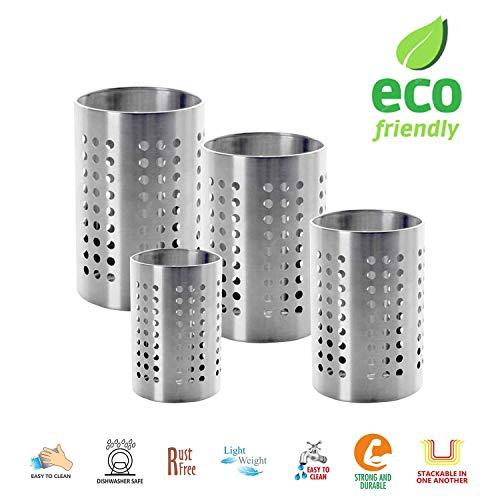 WhopperIndia Kitchen Utensil Holder - Utensil Crock - Caddy Utensils Storage Stainless Steel Pack of 4 5 45 4 35