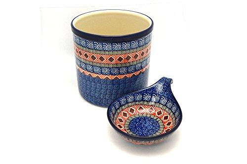 Polish Pottery Utensil Holder Set - Aztec Sun