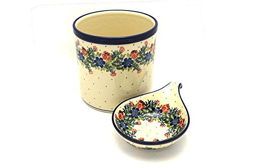 Polish Pottery Utensil Holder Set - Garden Party
