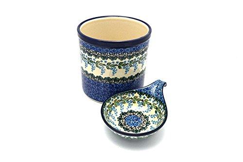 Polish Pottery Utensil Holder Set - Wisteria