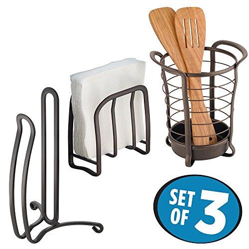mDesign Kitchen Storage Set Paper Towel Holder Napkin Holder Round Utensil Holder - Set of 3 Bronze