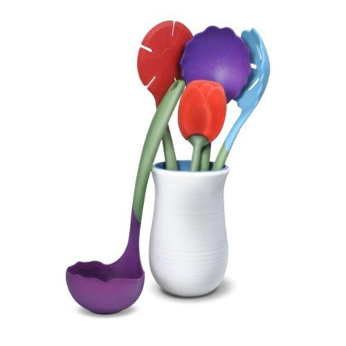 Kizmos Flora Plastic Kitchen Tools Set with Crock