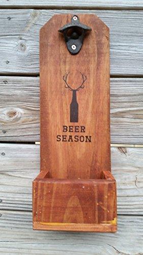 Bottle Opener and Cap Catcher Rustic ~ Beer Season ~ Deer Antlers ~ Man Cave ~ Gift