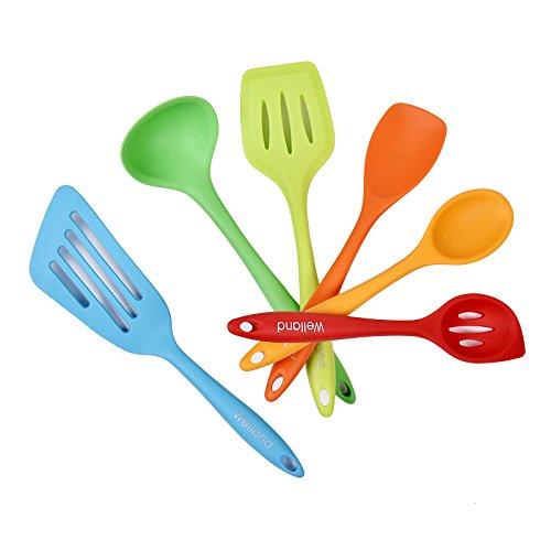 WELLAND 6-Piece Silicone Cooking Set - 2 Spoons 2 Turners 1 Spoonula  Spatula 1 Ladle - Heat Resistant Kitchen Utensils Multicolor
