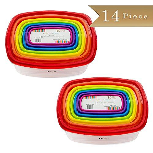 14 Piece - TrueCraftware Plastic Food Storage Containers - Multi Colored Lids