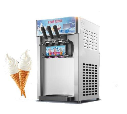 Commercial 3 Flavors Soft Ice Cream Machine 12L Frozen Ice Cream Cones Machine Handness Adjustment 110V