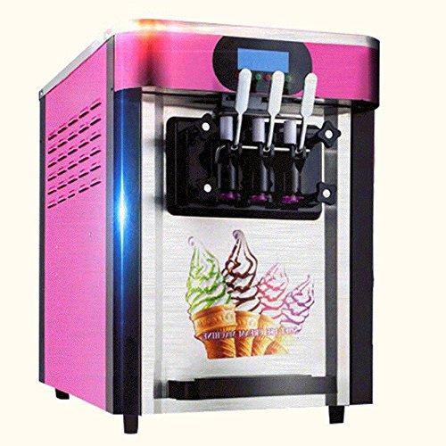 Finlon 3 Flavors Soft Ice Cream Making Machine Stainless Steel 20Lh Frozen Ice Cream Cones Machine with 3 Desktop Small Automatic Drum Ice Cream Machine Without Refrigerant110v US-Plug