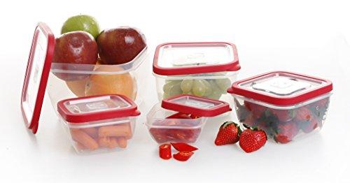 BINO 10-piece Square Plastic Food Storage Set Red