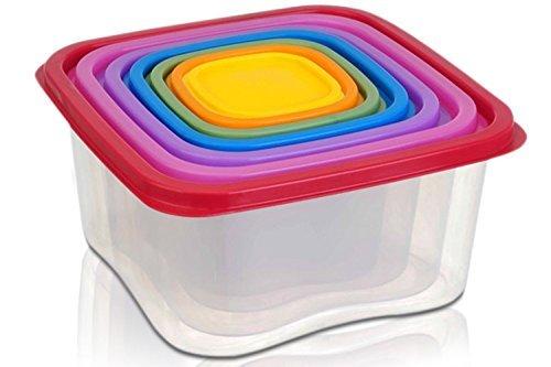 Square 14-piece Plastic Food Storage Set - Rainbow Colored Lids 95 X 5
