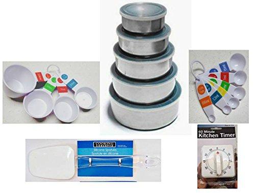 10-pc Stainless Steel Food Storage Bowls Plastic Measuring CupsSpoonsSpatulaTimer 14-Pc Bundle