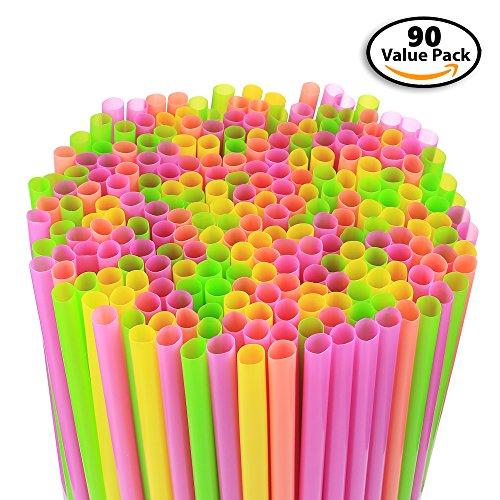 90 Pack Large Milkshake  Smoothie  Slush Straws Disposable Jumbo Extra Wide Thick Shake Long Plastic Drinking Straw Assorted Colors 9
