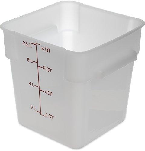 Carlisle 1073302 StorPlus 8 quart Square Food Storage Box BPA Free 875 Length x 875 Width x 9 Height White Pack of 6