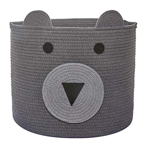 Bear Basket Toy Storage Bin Cotton Rope Basket Woven Laundry Hamper Cute Storage Basket for Kids Toys Cloths in Bedroom Nursery Living Room 16D x 14H