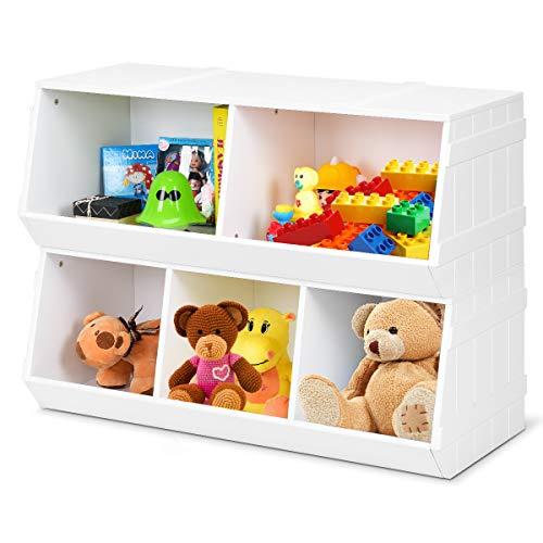Giantex Kids Toy Storage Bins Children Collection Shelf Multi-Bin Storage Cubby Bin Storage Organizer with 5 Storages for Nursery Playroom Closet Home Organization Toy Shelf Organizer White 1