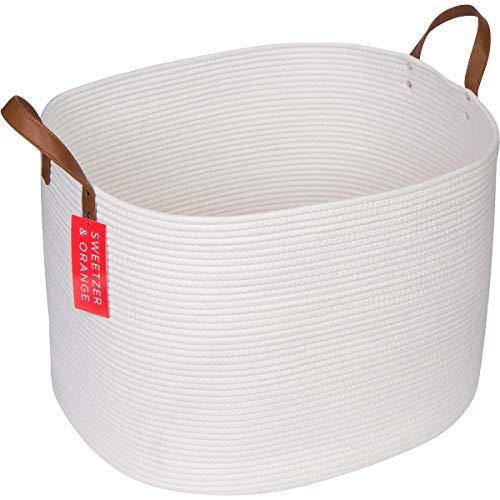 Sweetzer Orange Extra Large Woven Cotton Rope Storage Basket - 23x205x155 wVegan Leather - Blanket Storage Baskets Laundry and Toy Storage Nursery Hamper - Off White XXL for Living Room