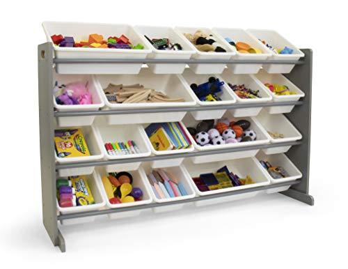 Tot Tutors Extra-Large Kids Toy Storage Organizer w 20 Bins Universal GreyWhite
